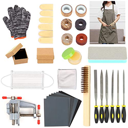 LAMPTOP 35 Pieces Ring Craft Kits, Ring Making Tools Kit Including Finger Sizing Measuring Gauge Tools, Vise and Sandpapers, DIY Make Your Own Jewelry Ring for Adults,Man, Woman,Beginners…