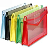 VJTI Envelope Folder,Transparent Poly-Plastic A4 Documents File Storage Bag with Snap Button Set