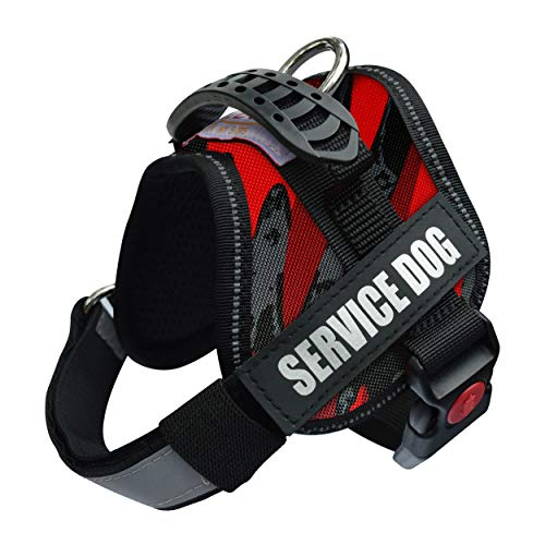 Albcorp Service Dog Vest Harness - Reflective - Woven Nylon, Adjustable Service Animal Jacket, with 2 Hook and Loop Removable Patches, XXS, Red Camo