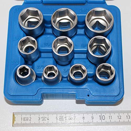 10 teiliger Steckschlüsselsatz zöllige Schlüsselweiten mit 1/2 zoll 12,5 mm Antrieb. Schlüsselweite 3/8 bis 15/16 zoll, inch. Steckschlüsseleinsatz, Stecknüsse, ideal für US-Cars und Motorräder.