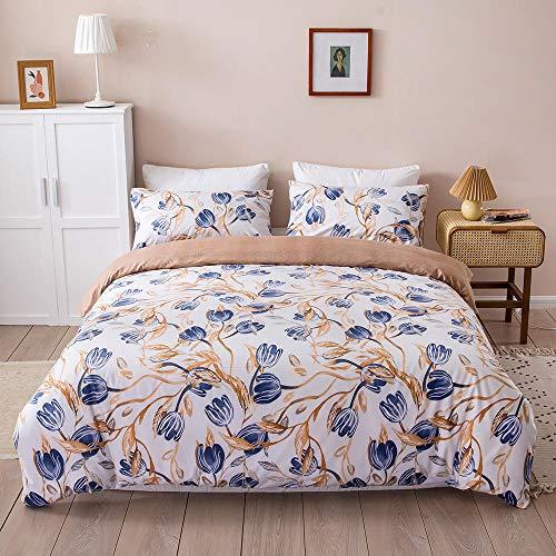 Juego de Funda de Edredón Cama 240x220cm,Flores Azul Amarillo,3 Piezas Funda Nórdica Microfibra Juego de Cama Cremallera Funda de Almohada,Suave y Transpirable