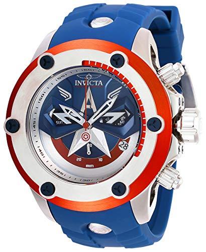 Relógio masculino Invicta de quartzo Marvel com aço inoxidável, tira de silicone, azul, 26 (modelo: 28420)