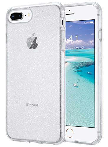 ULAK Clear Glitter Case for iPhone 8 Plus, iPhone 7 Plus Case Clear, Slim Fit Hybrid Shock Absorption TPU Bumper Cover for iPhone 7 Plus/iPhone 8 Plus (2017) - Clear Glitter
