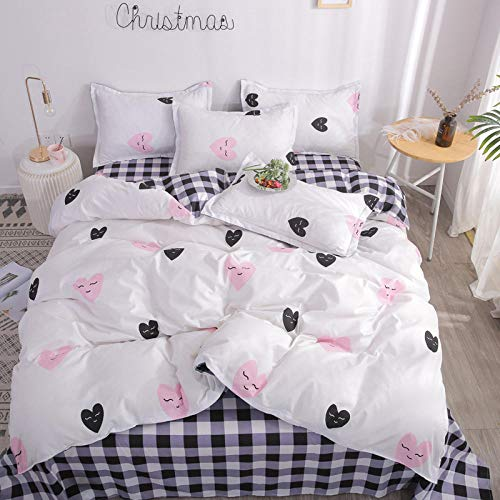 Evvaceo Bedding Set 3-Piece Set Simple Pink Love Pattern 200 Cm X 200 Cm Zipper Closure 3D Bedding Set Microfiber Teenager Children Kids Printed Bedroom Duvet Set With Pillowcases (Double)