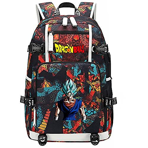 ZZGOO-LL Dragon Ball Son Goku/Vegeta IV/Torankusu Anime Cosplay Bookbag College Bag Backpack School Bag with USB Charging Port-D