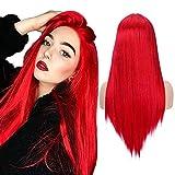 Peluca larga recta Peluca roja sedosa con rayita natural Parte media Peluca sintética de fiesta de Halloween para mujeres y niñas (22 pulgadas)