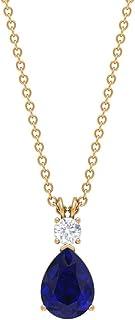 Colgante de zafiro azul en forma de pera, colgante de moissanita de 4 mm, collar de gota de oro (9 x 7 mm zafiro azul)