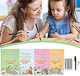 Magic Practice Copybook for Kids - Reusable Magic Calligraphy Tracing Handwriting Workbook Set, Writing Practice Book for Preschoolers & Kindergarten Children