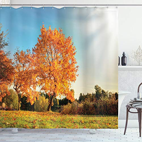 ABAKUHAUS Herbst Duschvorhang, Ahorn-Baum im Herbst, Digital auf Stoff Bedruckt inkl.12 Haken Farbfest Wasser Bakterie Resistent, 175 x 180 cm, Orange Blue