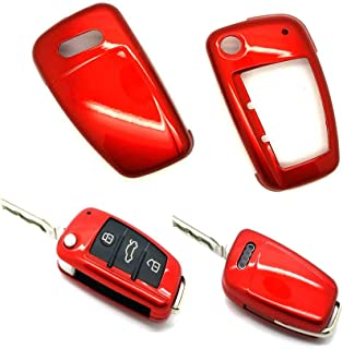 carmonmon Smart Remote Keyless Entry Paint Color Shell Key Case Cover Fit for Audi A3 A4 A6 A8 TT Q7 S6 Folding Blade Key (Gloss Red)