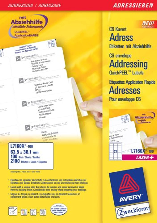 Avery Zweckform, L7160X-100, 100 Blatt, Adress-Etiketten mit Abziehhilfe Abziehhilfe Abziehhilfe für C6 KuGrüns, 63, 5 x 38, 1 mm B0002S46VO | Zu verkaufen  6f4a2e