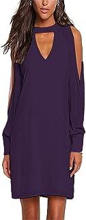 Alelly Women's Dresses Choker Loose V Neck Cold Shoulder Long Sleeves Casual Chiffon Dress Mini Dress