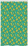 ABAKUHAUS Banane Schmaler Duschvorhang, Tropic Fruit Vivid, Badezimmer Deko Set aus Stoff mit Haken, 120 x 180 cm, Teal