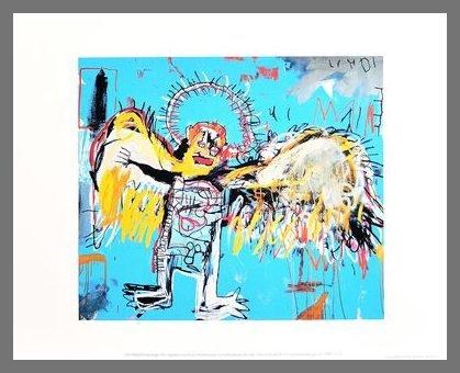 Germanposters Jean-Michel Basquiat Poster Kunstdruck Bild Untitled Fallen Angel 1981 im Alu Rahmen Champagne 42x34cm