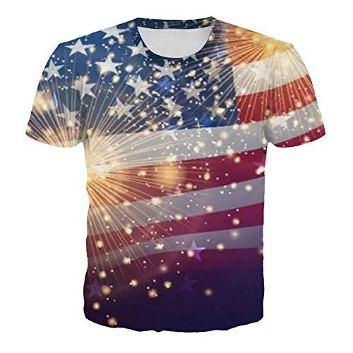 T-Shirt Imprimé En 3D,D'Artifice De Mode Stars Stripes Hommes Imprimé T Shirt Casual Unisexe Manche Courte O-Cou Lâche Personnalité Hommes Femmes Tops Grande Taille Couple Hip Hop Clothing,5Xl