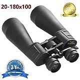 Binoculares con visión nocturna con poca luz, HD Óptica de alta resolución de 20-180x100 Zoom Ocular grande Impermeable binocular de alta potencia Fácil para telescopios al aire libre para adultos