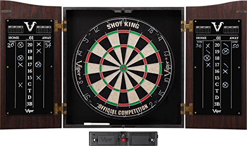 Viper Vault Cabinet & Shot King Sisal/Bristle Dartboard Ready-to-Play Bundle with Two Sets of Steel-Tip Darts, Throw Line, and Dry Erase Scoreboards, Walnut Finish
