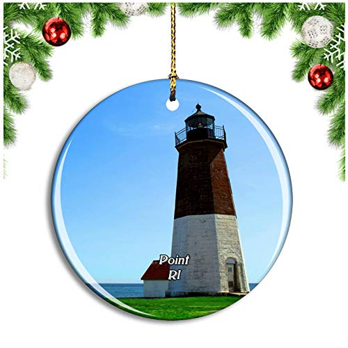 Weekino Point Judith Lighthouse Narragansett Rhode Island USA Christmas Ornament Xmas Tree Decoration Hanging Pendant Travel Souvenir Collection Double Sided Porcelain 2.85 Inch