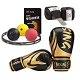 WESING Boxing Training Gloves with 3 Meters Handwraps Boxing Reflex Balls for Punching Training Set (Pink, 8 Oz)
