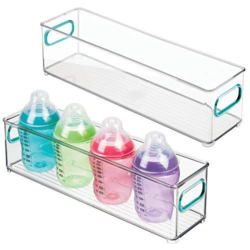 mDesign - Opbergbak voor kinder- en babyspullen - voor keuken, voorraadkast, babykamer, speelkamer - voor snacks, flesjes, babyvoeding - met handvatten/slank/BPA-vrij - 10 cm breed/doorzichtig/blauw - doorzichtig/blauw