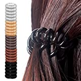 25 Pcs Spiral Hair Ties, No Crease Coil Hair Ties, Hair Coils, Phone Cord Hair Ties for Thick Hair - Women Ponytail Holder Elastics (Assorted Color)