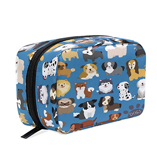 Wamika Dog Puppy Cosmetic Bag School Pencil Cases Travel Toiletry Bags, Funny Animal Paw Print Makeup Box Storage Bags Organizer Holder for Kids Women Girls Outdoor