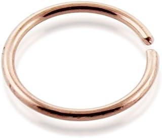 AtoZ Piercing 9 Karat Solid Rose Gold 22 Gauge (0.6MM) - 5/16 (8MM) Length Seamless Continuous Hoop Nose Ring