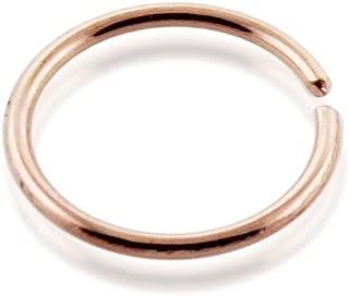 9 Karat Solid Rose Gold 22 Gauge (0.6MM) - 5/16 (8MM) Length Seamless Continuous Hoop Nose Ring