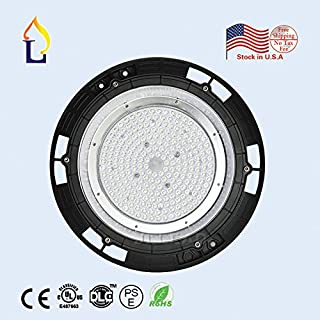 (1 Pack) UL DLC UFO high Bay Lights 200W LED Highbay Lighting SMD3030 high Bay Light Mining lamp 90 Lens Beam Angle Cover 3000K 5 Years Warranty