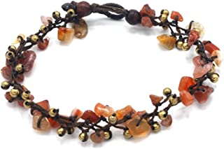 MGD, Orange Agate Bead and Gold Bead Anklet, 25 CM w/ 1 Inch Extend 3-Strand Anklet, Wrap Anklet, Women Fashion Jewelry, JB-0367A