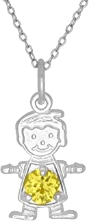 Happy Baby Boy Sterling Silver November Birthstone Pendant Necklace Yellow Stone and Chain