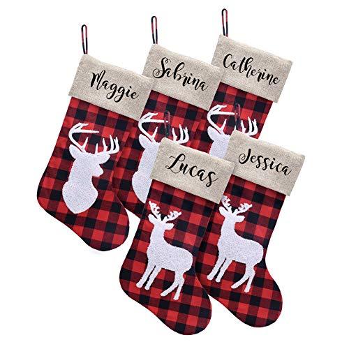 Caraknots Personalized Christmas Stockings Set of 5 Large Burlap Plaid Custom Monogram Christmas Stockings Reindeer Home Party Decoration Xmas Holiday Fireplace for Family