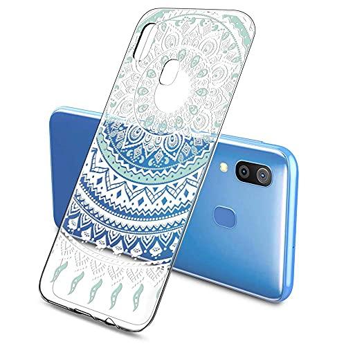 Oihxse Color Gradiente Funda Compatible con Samsung Galaxy J7 2017, Transparente Silicona Ultra Delgado Anti-rasguños Protector Case, Circulo Puntilla Flor Diseño TPU Cover