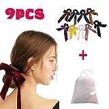 Bandas Elasticas De Pelo De Terciopelo Diademas Scrunchies Arco de Lindo Elásticas Gomas Pelo para Niñas Bebés Mujer, 9 Colores