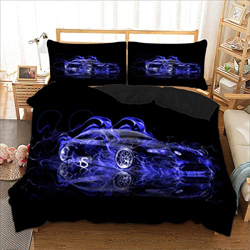 Kids Duvet Cover Set Single 3D Printed Blue Racing Car Bedding Duvet Cover Set with Zipper Closure for Kids Boys Teen Soft Microfiber Duvet Cover Single Size 135x200cm