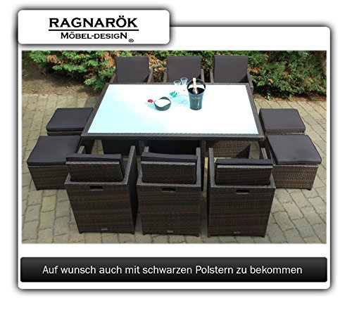 Ragnarök-Möbeldesign PolyRattan Essgruppe DEUTSCHE Marke - EIGNENE Produktion Tisch + 6 Stuhl & 4 Hocker - 8 Jahre GARANTIE - Garten Möbel incl. Glas und Sitzkissen braun Gartenmöbel - 5