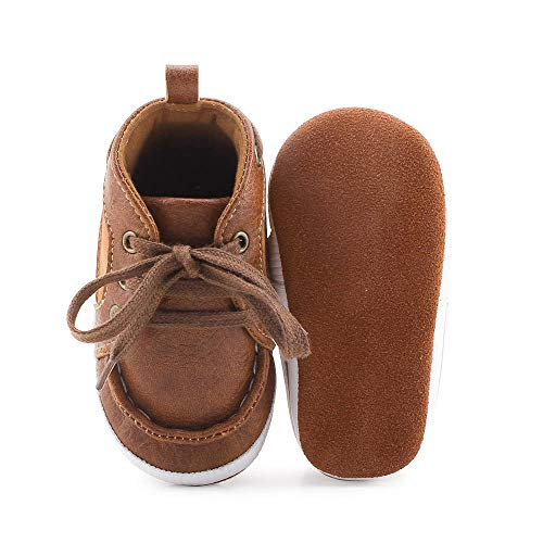 Delebao Baby Boys Girls First Walkers Lace Up Shoes Fashion Sneakers 12-18 Months Brown