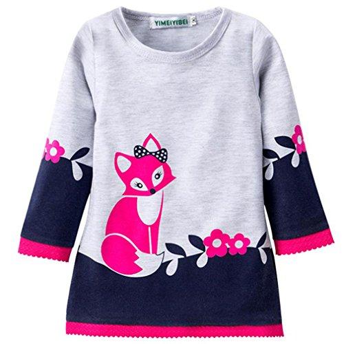 Yinew Mädchen Pullover Kinder Rock Pullover Herbst und Winter Fuchs Drucken Langarm Kinder Kleid Spitzenspitze Kinder Kleid Navy 110cm