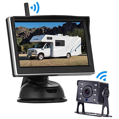 Digital Wireless Backup Camera High-Speed Observation System for RVs,Cars,Trailers,Trucks,5th Wheel with 5''HD Monitor Rear/Side/Front View Continous/Reversing Use Guide Lines ON/Off IP69K Waterproof backup Cameras Vehicle