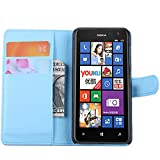 Tasche für Nokia Lumia 625 Hülle, Ycloud PU Ledertasche Flip Cover Wallet Case Handyhülle mit Stand Function Credit Card Slots Bookstyle Purse Design blau