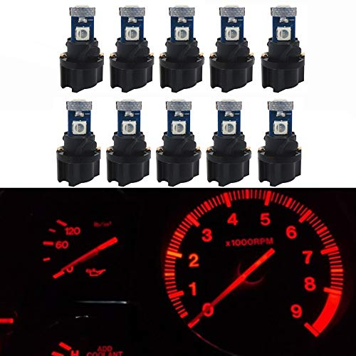 WLJH 10 Pack Red Canbus T5 Led Bulb 2721 37 74 Wedge Lamp PC74 Twist Sockets Dash Dashboard Lights Instrument Panel Cluster Leds Replacement