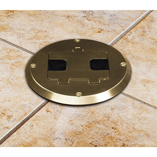 Hubbell-Raco 6239BP Single Gang Floor Kit with Recessed Duplex 15A TR Device and Adjustable Steel Box, Brass Finish