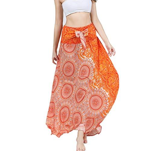 Women's Elastic Waist Bohemian Long Skirt Summer Beach Skirt Casual Floral Dresses Round Yellow
