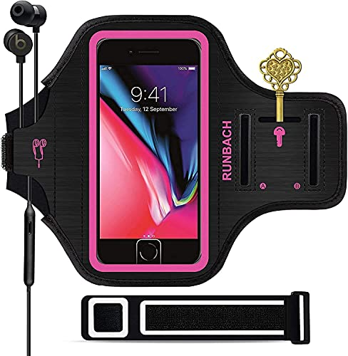 RUNBACH iPhone 8 Plus/iPhone 7 Plus Armband, Sweatproof Running Exercise Gym Bag with Fingerprint Touch/Key Holder and Card Slot for 5.5 Inch iPhone 6/6S/7/8 Plus (Pink)