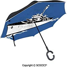 SCOCICI Reverse Umbrella,I Love Sea Quote with Heart Figure Sea Materials Anchor Compass Knotted Rope Umbrellas for Women with UV Protection,Upside Down Umbrella with C-Shaped Handle