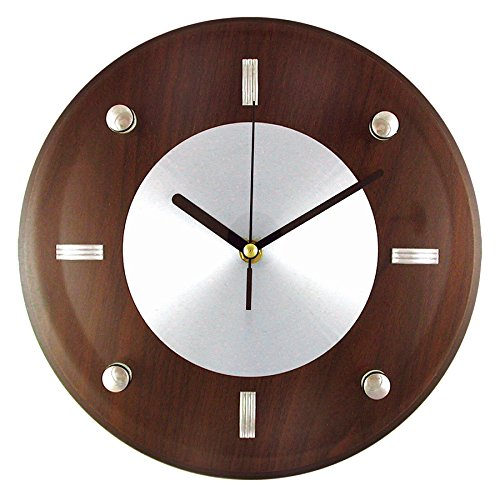 Timekeeper 11-Inch Round Espresso Brown Woodgrain Wall Clock with Silver Accents and Raised Glass Cover