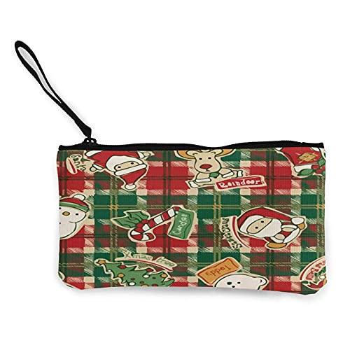 Monedero clásico de lona con asa de Papá Noel con diseño de reno de Navidad, bolsa de maquillaje, bolsa de teléfono móvil