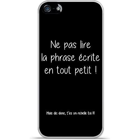 Coque TPU Gel Souple Apple iphone 5 / 5S Design Citation Rebelle Texte Blanc Fond Noir