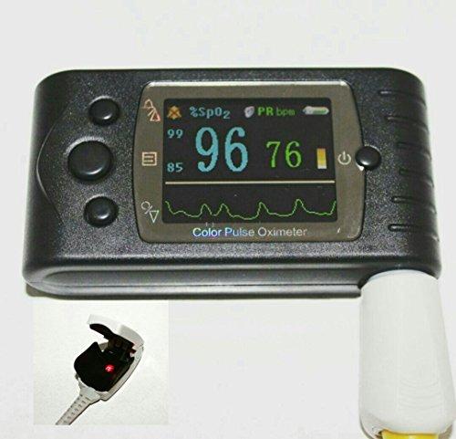 """ArmoLine Oxímetro de pulso de mano con variaciones """"bebé-adulto-recién nacido"""", medición en tiempo real, pantalla grande a color, sonda externa SpO2 (adulto)"""