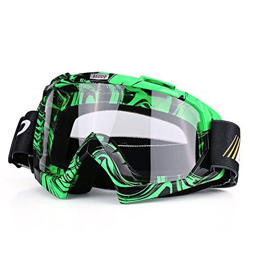 Qiilu Motocross Brille, Motorrad Motocross Off Road Dirt Bike Racing Goggles Brille Augen Schutz(Green Weiß)